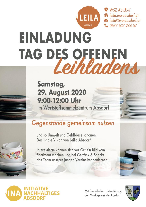 Flyer LeiLa Absdorf Eröffnung am 28.09.2020
