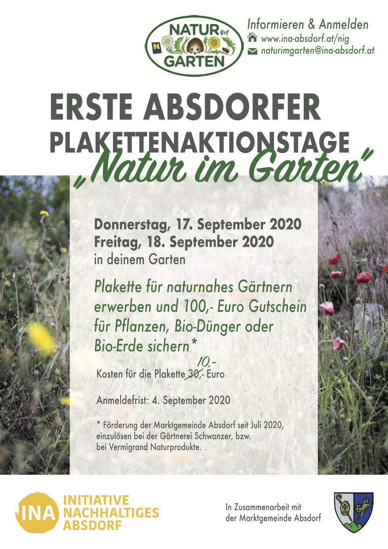 """Flyer für """"Natur im Garten"""" Plaketten-Aktionstage 2020"""